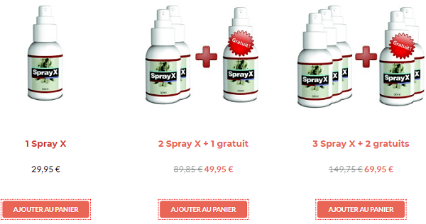 tarifs spray x